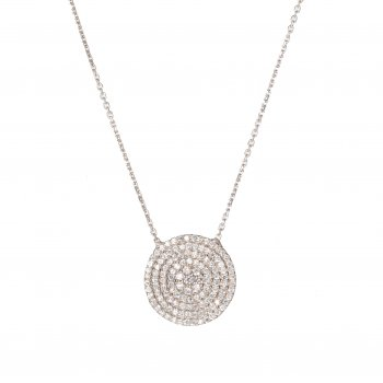 Ingenious Silver necklace with large pave circle