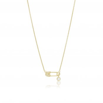 Gold necklace with safety pin charm
