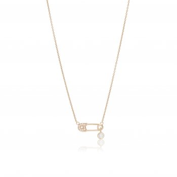 Ingenious Rose gold necklace with safety pin charm