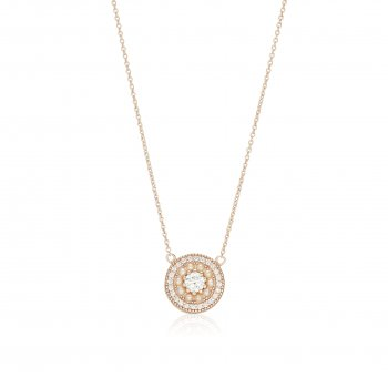 Ingenious Rose gold necklace with surrounding pearls