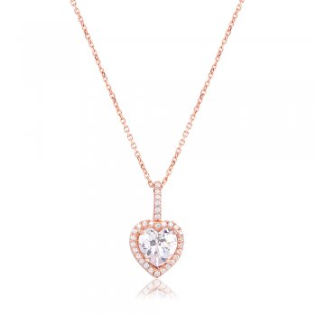 Ingenious Rose gold necklace with heart shape pendant