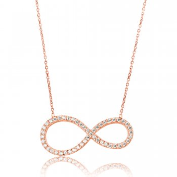 Ingenious Rose gold necklace with large pave open infinity