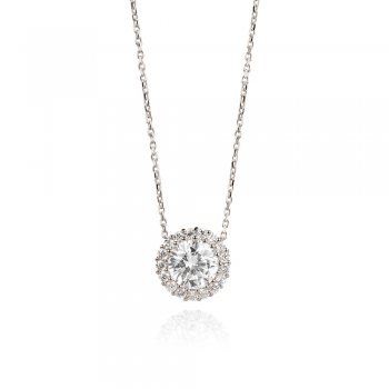 Silver necklace with classic crystal pendant