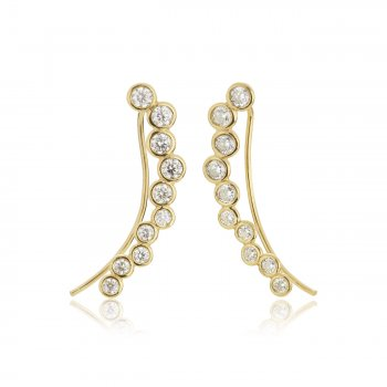 Ingenious Gold ear climber with multi hearts