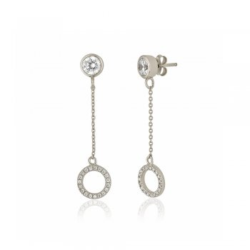 Ingenious Silver drop earring with open pave circle