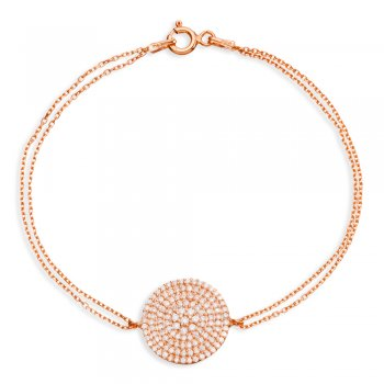 Ingenious Rose gold bracelet with large pave disc