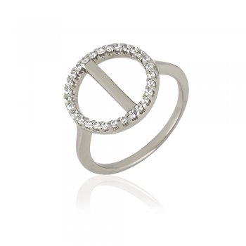 Ingenious Silver ring with pave circle