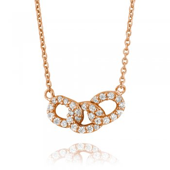 Ingenious Rose gold necklace with three linked circles