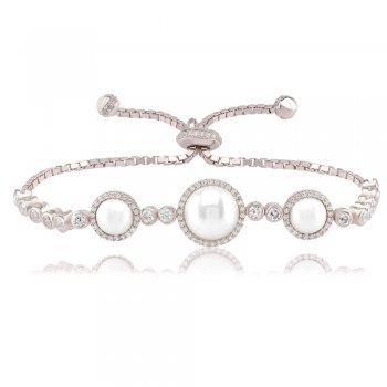 Ingenious Silver tennis bracelet with large and small pearl