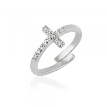 Ingenious Silver adjustable ring with cross