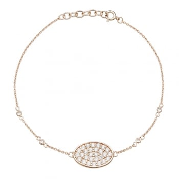 Ingenious Rose gold bracelet with pave oval