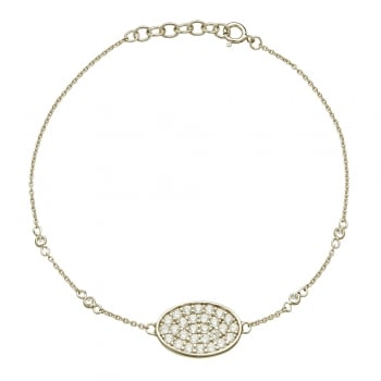 Ingenious Silver bracelet with pave oval