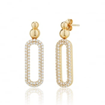 Ingenious Gold open pave oval drop earrings
