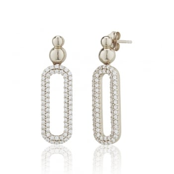 Ingenious Silver large open pave oval earrings