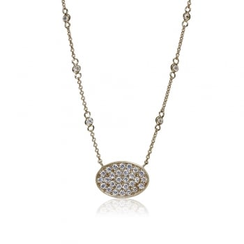 Ingenious Black necklace with oval pave pendant