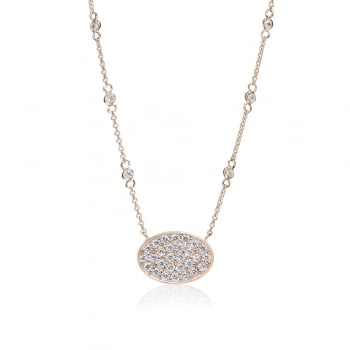 Ingenious Rose gold necklace with oval pave pendant