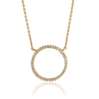 Ingenious Gold necklace with large open pave circle