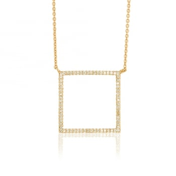 Gold necklace with open pave square