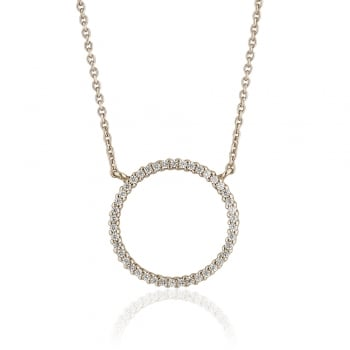 Ingenious Silver necklace with large open pave circle