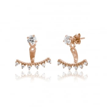 Ingenious Rose gold ear jackets with triangular stones