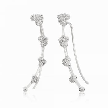 Ingenious Silver ear climber with hearts