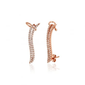 Ingenious Rose gold ear climber with two pave lines