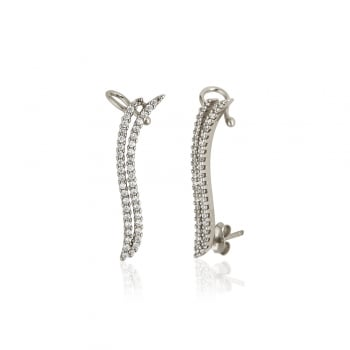 Ingenious Silver ear climbers with two pave lines