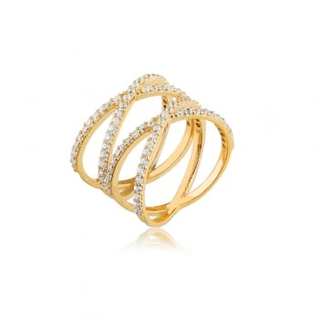 Ingenious Gold ring double pave cross