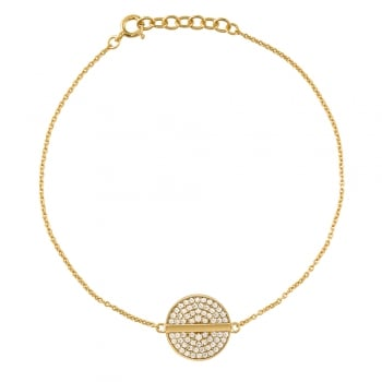 Ingenious Gold bracelet with pave circle and line