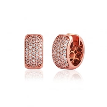 Ingenious Rose gold wide huggie pave hoops