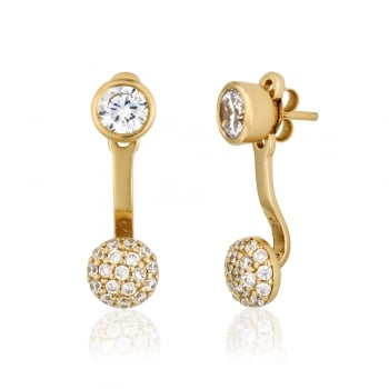 Ingenious Gold ear jacket with pave circle