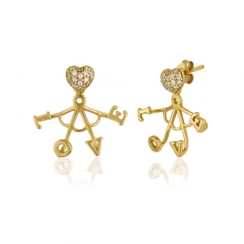 Ingenious Gold ear jacket with love