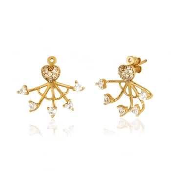 Ingenious Gold ear jackets with triangular stones