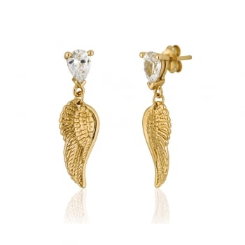 Ingenious Gold earrings with angel wings