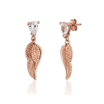 Ingenious Rose gold earrings with angel wings