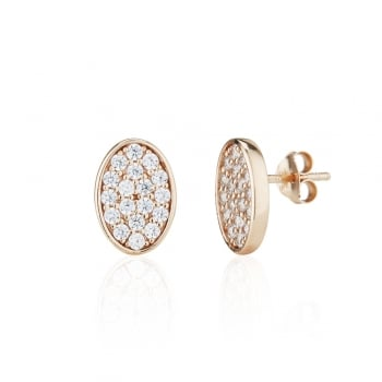 Ingenious Rose gold pave oval stud earrings