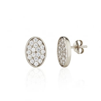 Ingenious Silver pave oval stud earrings