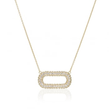 Ingenious Gold necklace with open pave oval