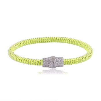 Ingenious Lime silk magnetic bracelet with silver clasp