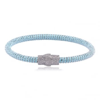 Ingenious Pale blue silk magnetic bracelet with silver clasp