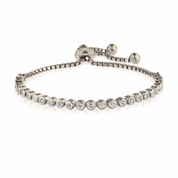 Ingenious Silver adjustable tennis bracelet with medium CZ