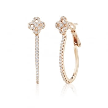 Ingenious Rose gold hoop earrings with flower stud