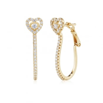 Ingenious Gold hoop earring with heart stud