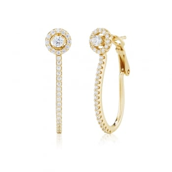 Ingenious Gold hoop earring with single stone stud