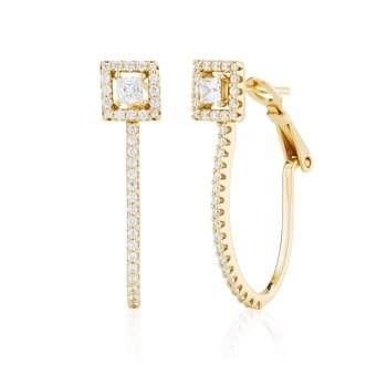 Ingenious Gold hoop earring with square stud