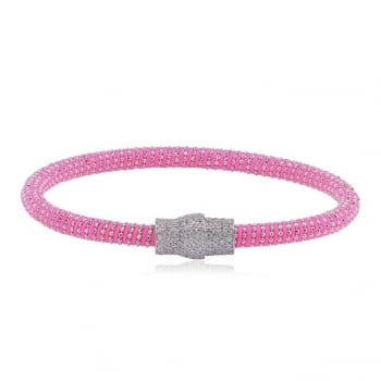 Ingenious Pink silk magnetic bracelet with silver clasp