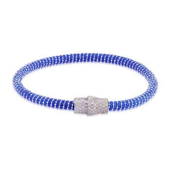 Ingenious Blue silk magnetic bracelet with silver clasp