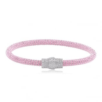Ingenious Pale pink silk magnetic bracelet with silver clasp