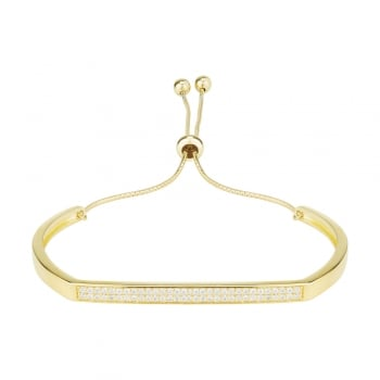 Ingenious Gold adjustable bangle with pave bar