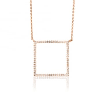 Ingenious Rose gold necklace with open pave square
